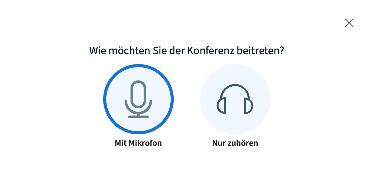 Big Blue Button Mikrofonwahl